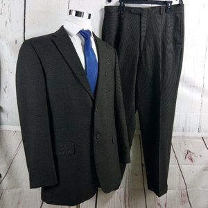 Tommy Hilfiger 44L 2 Buttn Brown Birdseye 2pc Suit